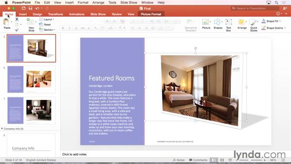 Formatting and adding effects to pictures: Office 365 for Mac: PowerPoint Essential Training