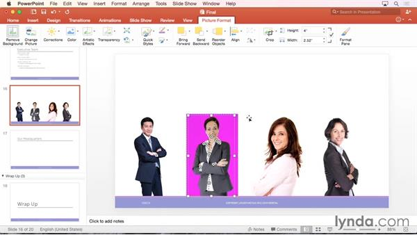 Removing the background from pictures: Office 365 for Mac: PowerPoint Essential Training