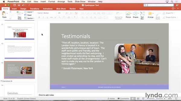 Color matching using the Eyedropper tool: Office 365 for Mac: PowerPoint Essential Training