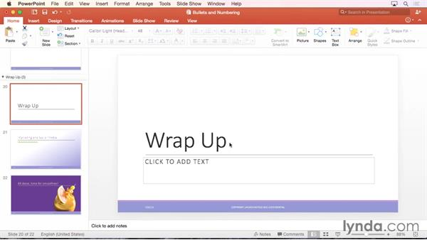 Formatting text and creating WordArt: Office 365 for Mac: PowerPoint Essential Training