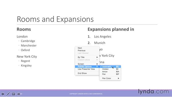 Adding annotations to a slideshow: Office 365 for Mac: PowerPoint Essential Training