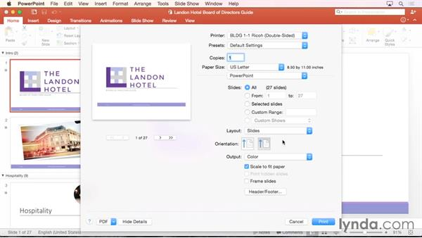 Printing a presentation: Office 365 for Mac: PowerPoint Essential Training