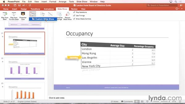 Creating a custom show: Office 365 for Mac: PowerPoint Essential Training