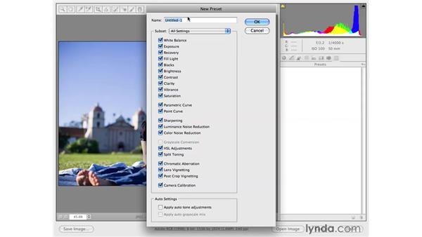 Creating a simple preset: Photoshop CS4 for Photographers: Camera Raw