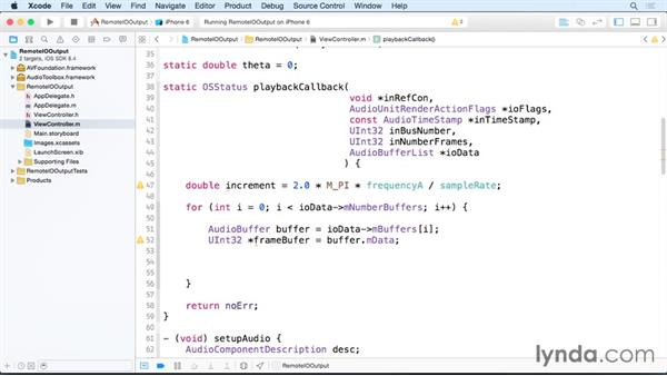 Writing real-time audio to an audio unit callback: Creating Audio Apps for iOS