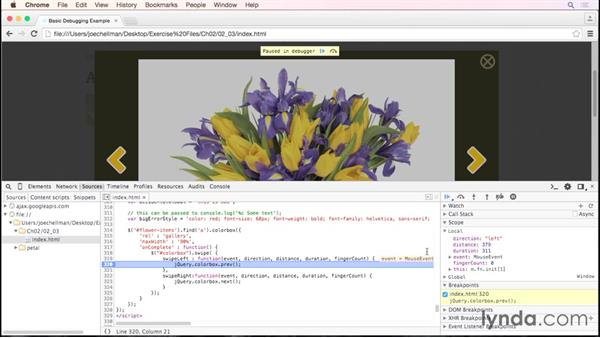 Stopping and looking around with simple breakpoints: Debugging the Web: JavaScript