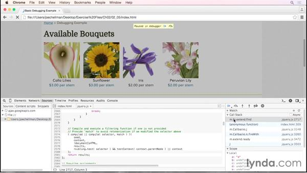 Stepping into, over, and out of functions: Debugging the Web: JavaScript