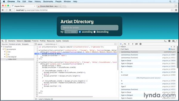 Debugging an AngularJS application in Chrome: Debugging the Web: JavaScript