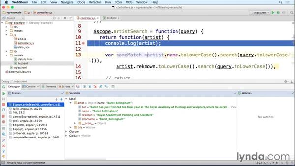 Debugging an AngularJS application in WebStorm: Debugging the Web: JavaScript