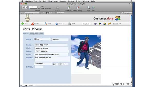 Managing the Fields window: FileMaker Pro 10 Essential Training