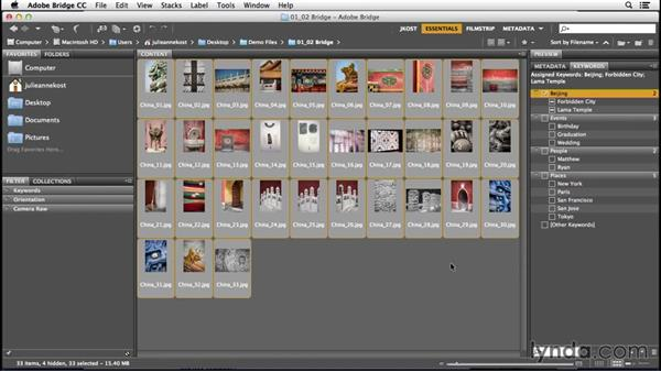 Creating and applying keywords to images: Bridge CC (2015) Essential Training