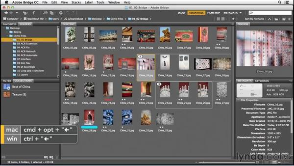 Organizing groups of images into stacks: Bridge CC (2015) Essential Training