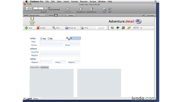 Using the auto-enter serial options: FileMaker Pro 10 Essential Training