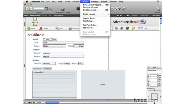 Creating layouts : FileMaker Pro 10 Essential Training