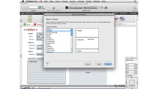 Using the Layout Assistant to create forms, lists, labels, and envelopes: FileMaker Pro 10 Essential Training