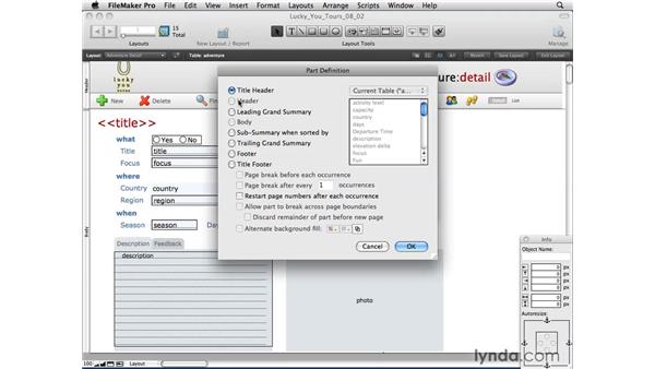 Layout parts overview: FileMaker Pro 10 Essential Training
