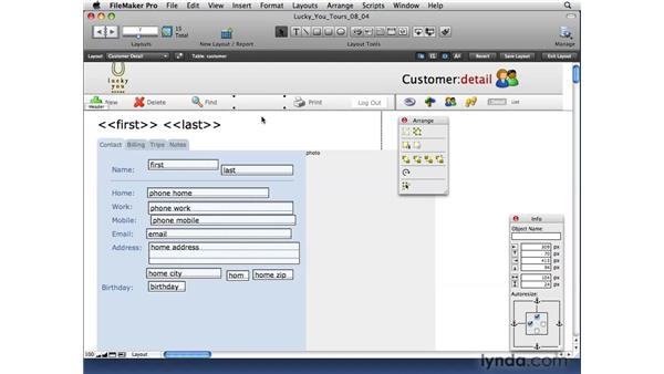 Arranging and aligning layout options: FileMaker Pro 10 Essential Training