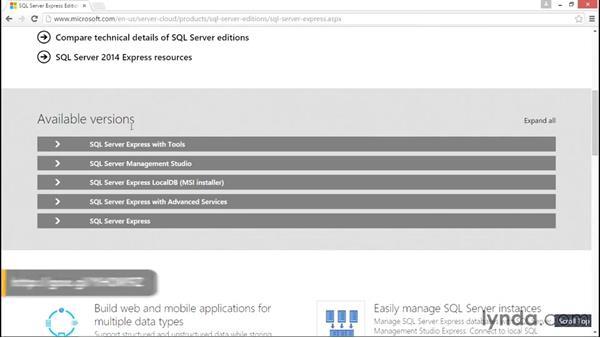 Downloading SQL Server 2014 Express: Database Fundamentals: Core Concepts