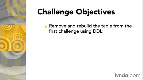Challenge: Creating a table using DDL: Database Fundamentals: Core Concepts