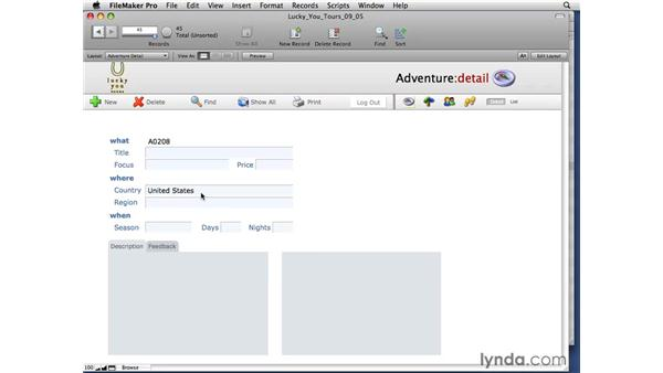 Using auto-complete: FileMaker Pro 10 Essential Training