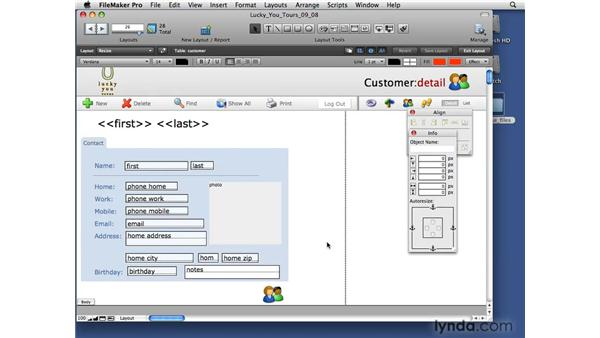 Resizing layout objects: FileMaker Pro 10 Essential Training