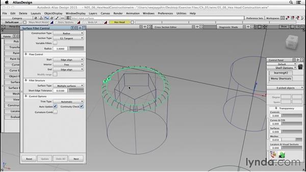 Creating a hexagonal head (standard part): Surfacing an F1 Wheel In Alias