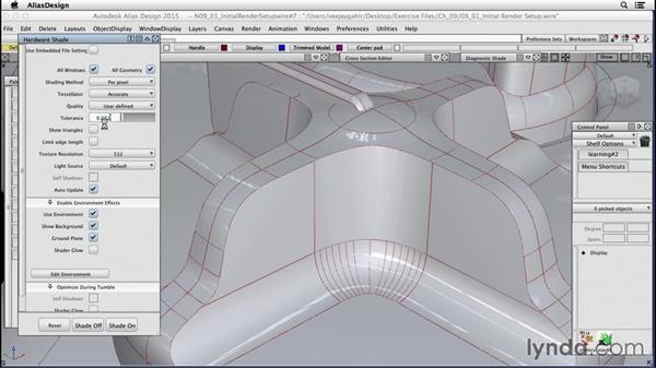 Initial render setup: Surfacing an F1 Wheel In Alias