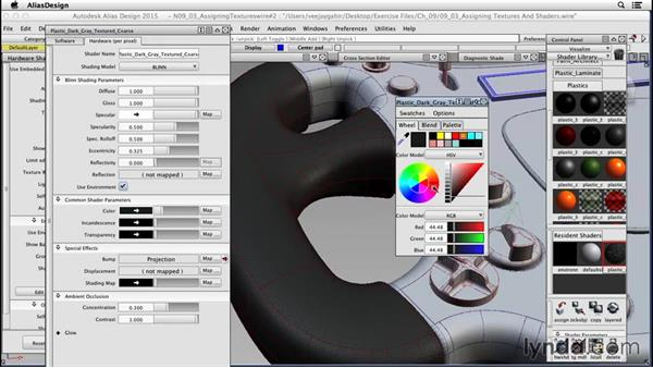 Assigning textures: Surfacing an F1 Wheel In Alias