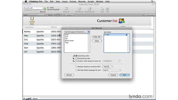 Sorting with multiple criteria: FileMaker Pro 10 Essential Training