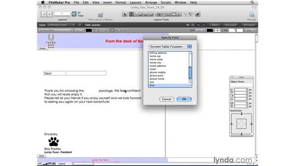 Printing merge letters: FileMaker Pro 10 Essential Training