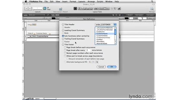 Creating subsummary reports: FileMaker Pro 10 Essential Training