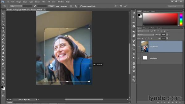 Using the Crop tool: Photoshop CC 2015 One-on-One: Fundamentals