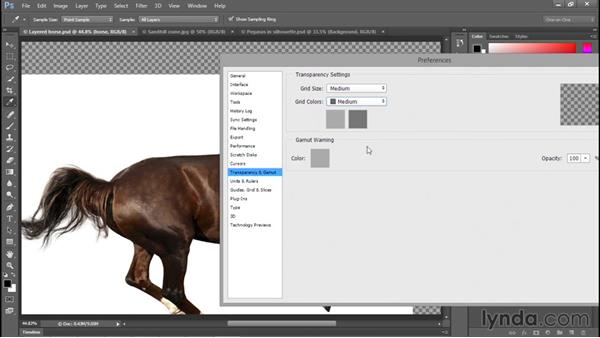 Customizing the transparency checkerboard: Photoshop CC 2015 One-on-One: Fundamentals