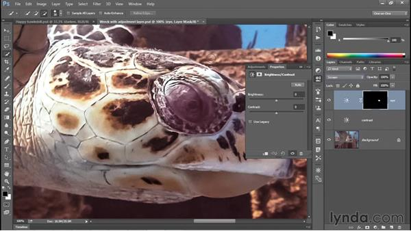 Isolating an adjustment with a layer mask: Photoshop CC 2015 One-on-One: Fundamentals