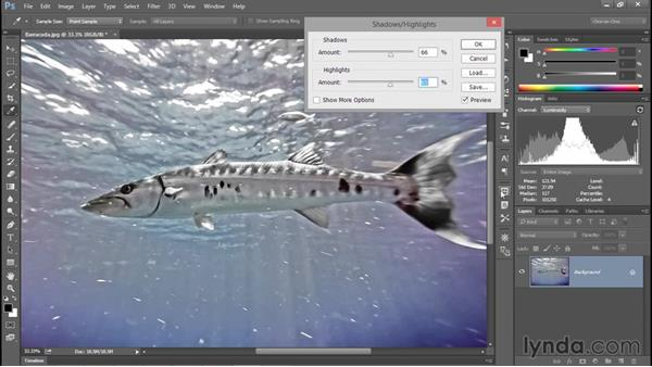 Reducing contrast with Shadows/Highlights: Photoshop CC 2015 One-on-One: Fundamentals