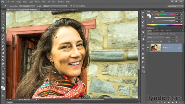 Correcting a color cast automatically: Photoshop CC 2015 One-on-One: Fundamentals