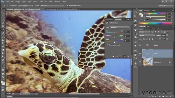 Manually adjusting colors with Color Balance: Photoshop CC 2015 One-on-One: Fundamentals