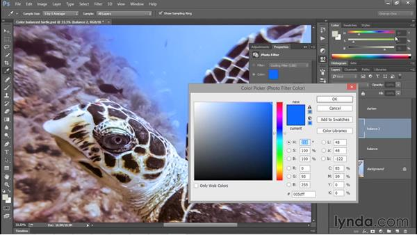 Tipping a color cast with Photo Filter: Photoshop CC 2015 One-on-One: Fundamentals