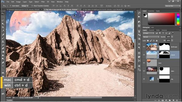 Adding clouds to your composition: Photoshop CC 2015 One-on-One: Fundamentals