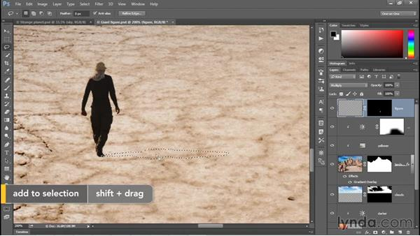 Drawing a freeform shadow with the Lasso: Photoshop CC 2015 One-on-One: Fundamentals