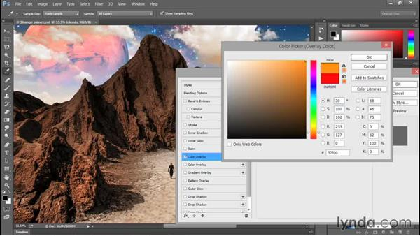 Colorizing a layer with Color Overlay: Photoshop CC 2015 One-on-One: Fundamentals