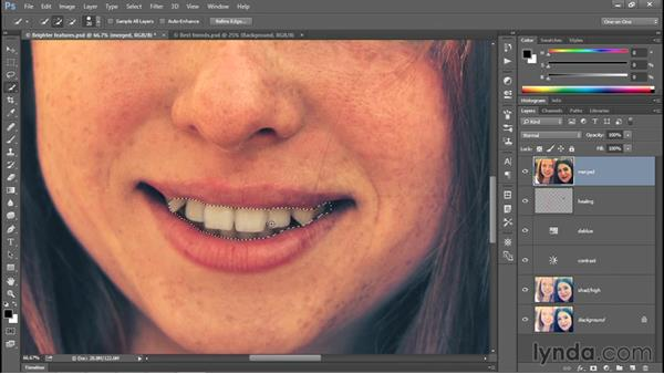 Whitening teeth with the Sponge tool: Photoshop CC 2015 One-on-One: Fundamentals