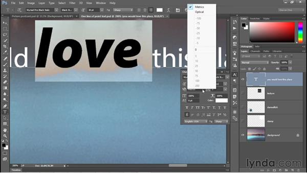 Formatting type from the Character panel: Photoshop CC 2015 One-on-One: Fundamentals