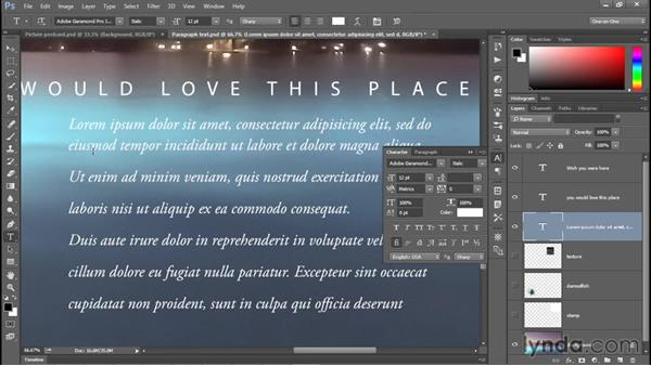 Adjusting leading and paragraph spacing: Photoshop CC 2015 One-on-One: Fundamentals