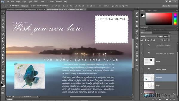 Aligning one layer to another: Photoshop CC 2015 One-on-One: Fundamentals