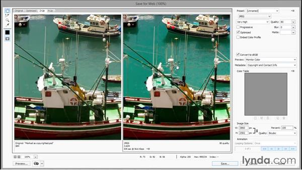 Introducing the old-school Save for Web: Photoshop CC 2015 One-on-One: Fundamentals