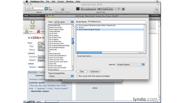 Creating multi-line scripts: FileMaker Pro 10 Essential Training