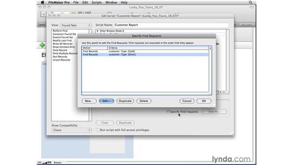 Adding Find criteria to a script: FileMaker Pro 10 Essential Training