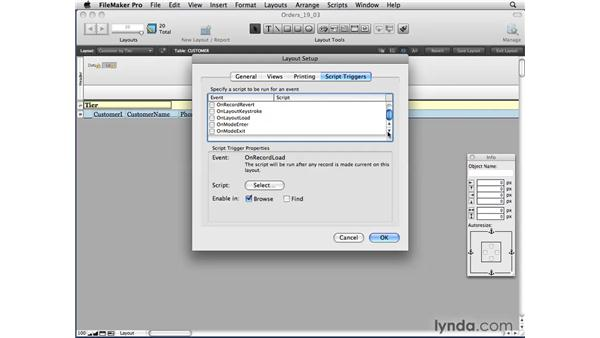 Using layout-based triggers: FileMaker Pro 10 Essential Training
