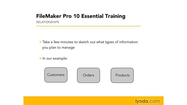 Diagramming relationships (with ER diagrams): FileMaker Pro 10 Essential Training